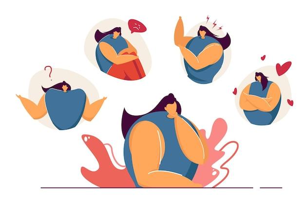 Illustrazione piana di sensazione di varie emozioni della donna