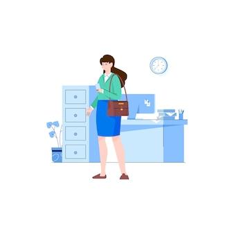 Lavoratrice degli impiegati della donna nell'ufficio