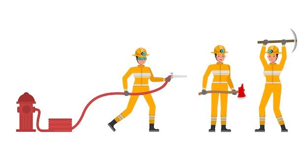 Carattere di donna pompiere in varie azioni