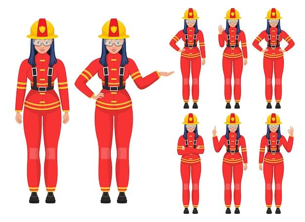 Illustrazione del pompiere della donna isolata su bianco