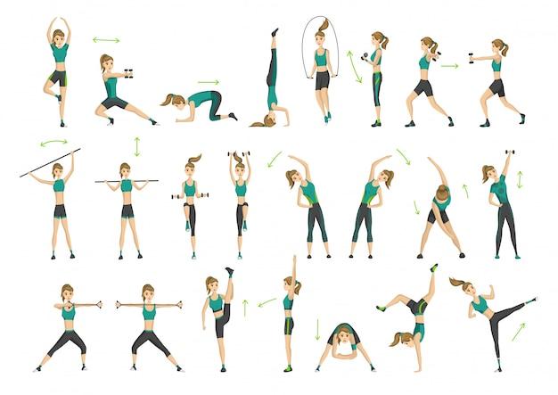 Fitness donna. raccolta di allenamento fitness aerobico. concetto di vita attiva e sana. donna che fa fitness ed esercizi fisici