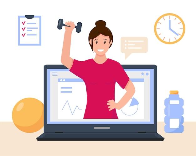 Concetto di corso online di fitness o yoga della donna. personal trainer online o istruttore di sport virtuale web.