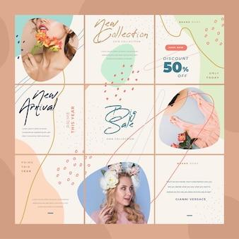 Feed di puzzle instagram donna e fiori