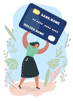 Donna frustrata dal debito della carta più pesante