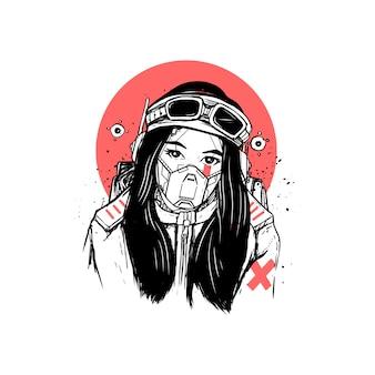 Maschera antigas della donna nell'illustrazione cyber punk di stile