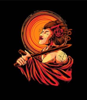 Donna geisha seppuku illustrazione. adatto per t-shirt o prodotti di merchandising