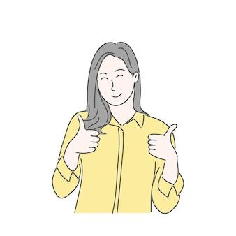 Donna che gesticola con thump up. stile di vettore di carattere disegnato a mano.