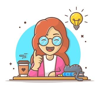 La donna ottiene l'idea con l'illustrazione dell'icona del fumetto del gatto e del caffè. persone business icona concetto isolato. stile cartone animato piatto.