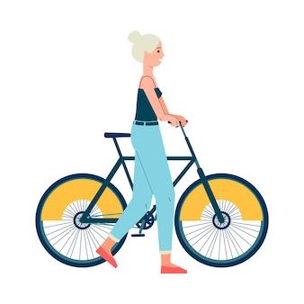 Personaggio dei cartoni animati di donna o ragazza con illustrazione di biciclette