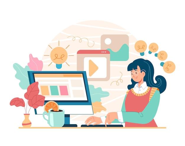 Utente di carattere donna ragazza seduta a casa al computer e ricerca di informazioni ricerca internet online ricerca utilizzando il concetto di computer, illustrazione piatta del fumetto