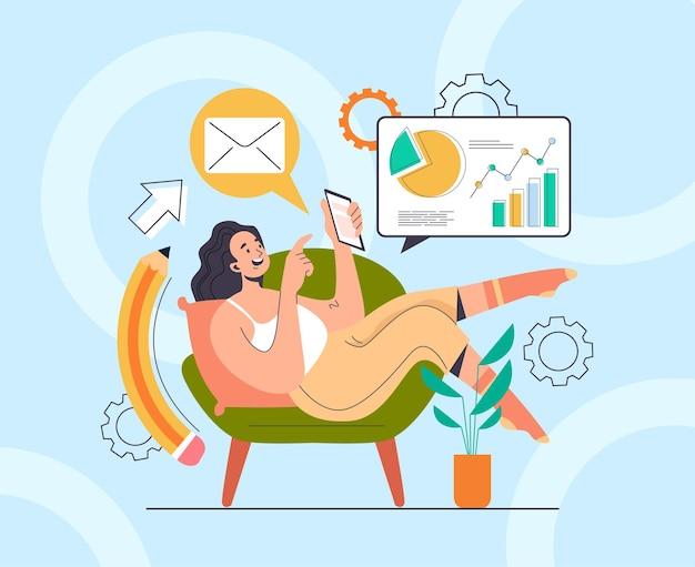 Carattere di donna ragazza freelance posa sul divano e alla ricerca di un nuovo concetto di idee di progetto di business