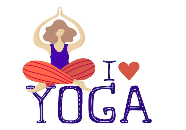 Donna o ragazza nella posizione del loto che pratica yoga