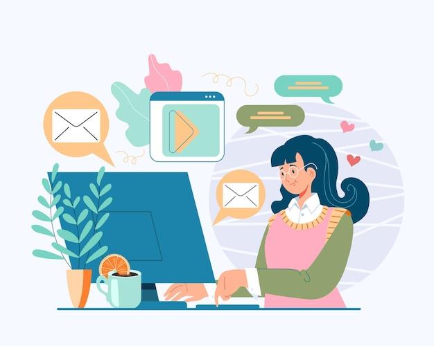Carattere teenager della ragazza della donna che si siede sul computer e comunica con gli amici concetto in linea dei social media di internet, illustrazione piana del fumetto