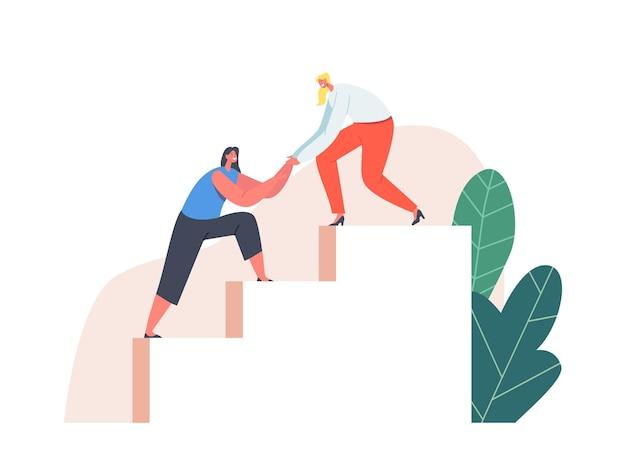 Donna che dà supporto alla ragazza tirala in cima alla scala. assistenza, aiuto collega al personaggio femminile, lavoro di squadra
