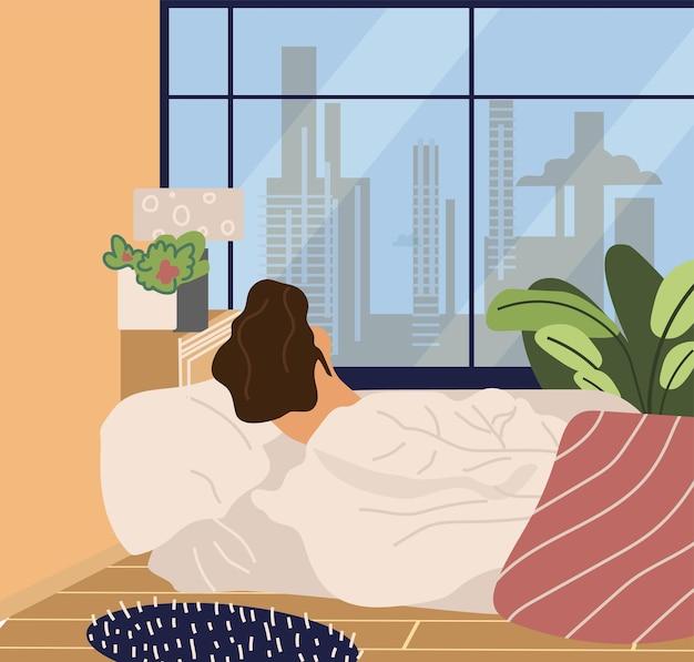La donna va a letto o si sveglia. la ragazza si sveglia e si sdraia sulla vista posteriore del letto. illustrazione vettoriale per il tempo libero, rilassante concetto mattutino prima della routine quotidiana degli affari
