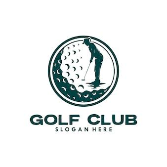 Disegno del modello del logo del club di golf della donna