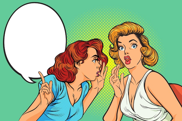 Sfondo di gesto di pettegolezzo donna in stile fumetto retrò pop art.