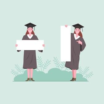 Studenti laureati della donna che tengono un bordo in bianco.