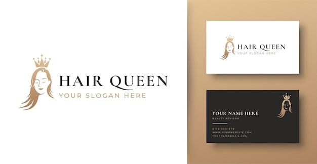 Logo sfumato oro e biglietto da visita del salone di capelli della donna