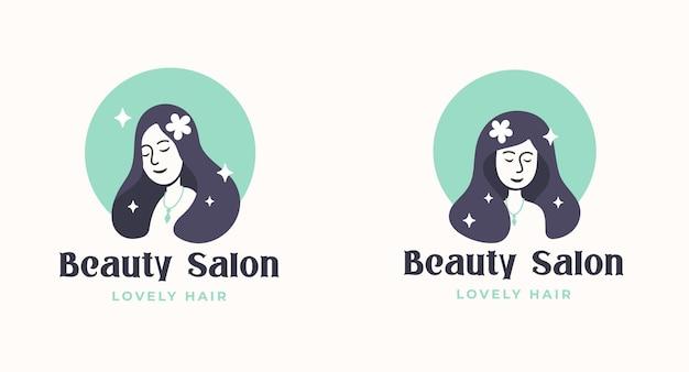 Disegno di marchio del salone di capelli della donna