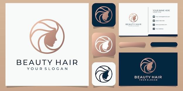 Siluetta stilizzata di stile di capelli della donna, modello di logo del salone di bellezza