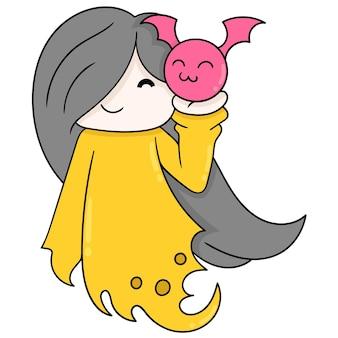 Donna in abito fantasma di halloween che trasportano simpatico pipistrello, illustrazione vettoriale. scarabocchiare icona immagine kawaii.