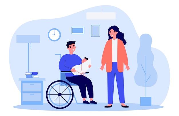 Donna e persona handicappata che tiene bambino