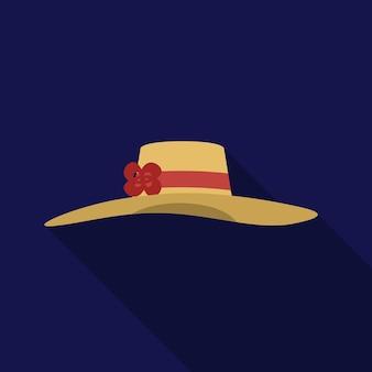 Simbolo del segno di vettore isolato dell'illustrazione piana dell'icona del cappello della donna