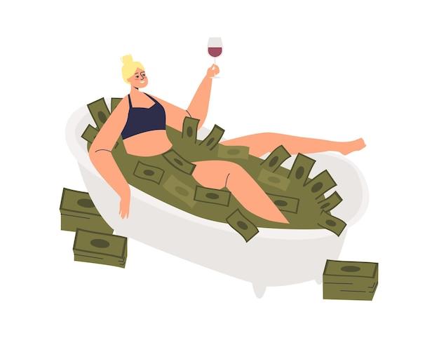 Donna che ha illustrazione di bagno in contanti