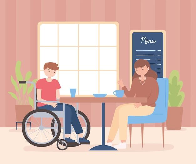 Donna che mangia caffè con un amico maschio in sedia a rotelle all'illustrazione del fumetto della caffetteria