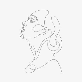 Illustrazione di lineart della testa della donna disegno di stile di una linea