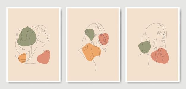 Testa di donna stile artistico oneline Vettore Premium