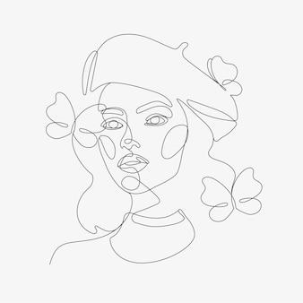 Testa di donna con composizione di farfalle
