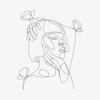 Testa di donna con composizione a farfalla illustrazione lineart disegnata a mano disegno in stile una linea line