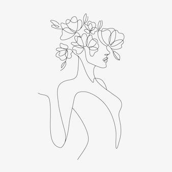 Testa di donna con composizione di fiori illustrazione lineart disegnata a mano disegno in stile una linea
