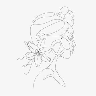 Testa di donna con composizione di fiori