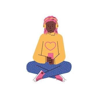 Donna in cuffie che esamina l'illustrazione di vettore del fumetto del telefono isolata