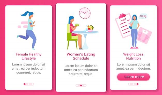 Modello di schermo mobile app onboarding stile di vita sano della donna. programma del cibo, controllo del peso procedura dettagliata del sito web con i personaggi. concetto di interfaccia del fumetto di ux, ui, gui smartphone