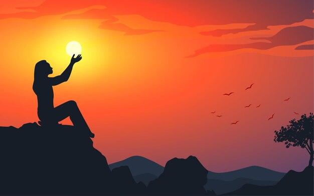 Donna sulla collina al tramonto