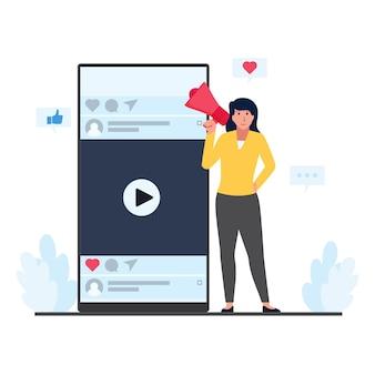 Megafono della stretta della donna accanto al telefono con la metafora dello schermo dei social media del mobile marketing.