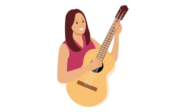 Donna che mantiene chitarra acustica