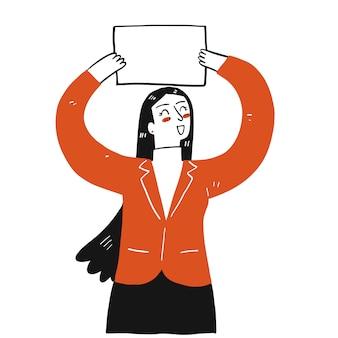 Una donna che tiene un foglio vuoto in aria.