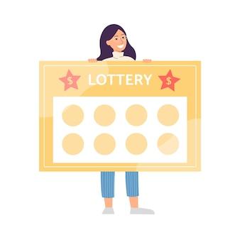 Donna che tiene modello di biglietto della lotteria gigante con slot vuoti