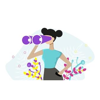 Donna che tiene un enorme binocolo e guarda lontano. illustrazione vettoriale per osservazione, scoperta, concetto futuro. illustrazione vettoriale piatto.