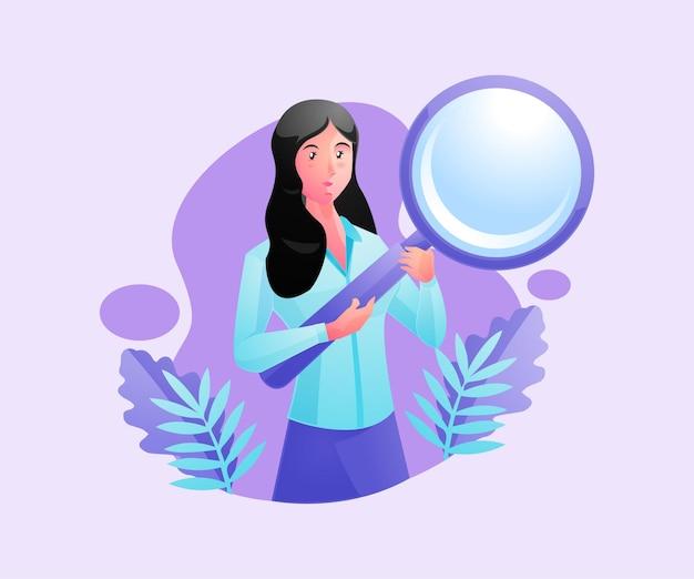 Una donna che tiene una lente d'ingrandimento