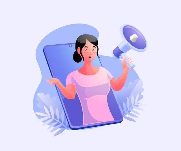 Donna che mantiene i megafoni, concetto di promozione della strategia di marketing