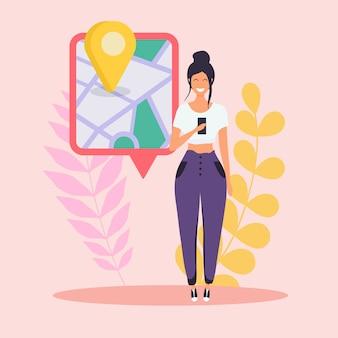 Donna che tiene telefono astuto mobile con app gps. mappa su smart phone. concetto di navigazione.