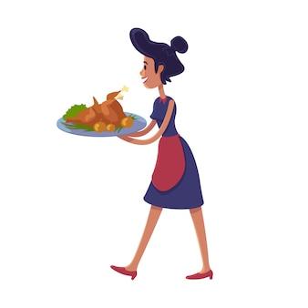 Illustrazione piana del fumetto del tacchino arrostita tenuta della donna. casalinga con piatto del ringraziamento. modello di carattere 2d pronto all'uso per design commerciale, animazione, stampa. eroe comico isolato