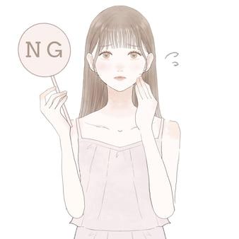 Donna che sostiene il segno di ng. su sfondo bianco.