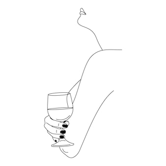 Donna che tiene il bicchiere di vino in uno stile lineare alla moda minimale. illustrazione di moda di vettore della figura femminile nel profilo. line art per poster, tatuaggi, stampa di t-shirt, post sui social media